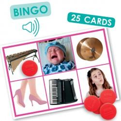 Bingo sonore des actions et des instruments de musique
