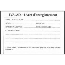 EVALAD - Livret d'enregistrement Pack 10 livrets