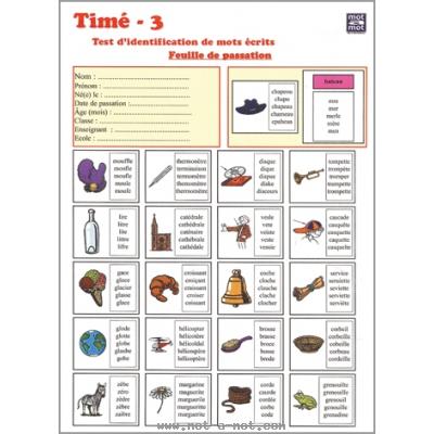 Timé 3 - Test d'identification de mots écrits pour enfants de 7 à 15 ans